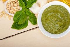 Italian basil pesto sauce ingredients Stock Photography