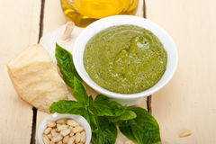 Italian basil pesto sauce ingredients Stock Images