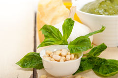 Italian basil pesto sauce ingredients Royalty Free Stock Photos