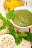 Italian basil pesto sauce ingredients Stock Photos