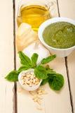 Italian basil pesto sauce ingredients Stock Image