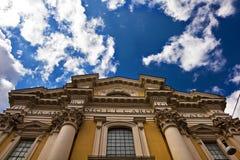 Italian basilica facade and blue sky Stock Image