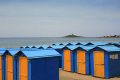 Italian beach. Changing rooms on a beach in Sicily Stock Photography