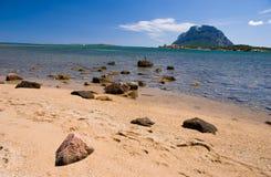 Italian beach. In front of Tavolara island Stock Photos