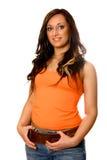 Italian beauty in orange Royalty Free Stock Image