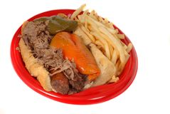 Italian beef and sausage combo with fries Royalty Free Stock Image