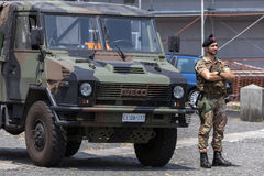 Italian Bersaglieri soldier Stock Photo