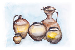Italian  big clay jugs Royalty Free Stock Image