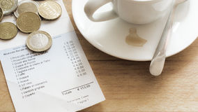 Italian Bill in a Restaurant Stock Photos