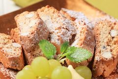 Italian biscotti. Detail of traditional Italian biscotti with almonds royalty free stock image