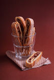 Italian biscotti. Cookies with nuts and chocolate stock images