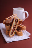 Italian biscotti. Cookies with nuts and chocolate stock image