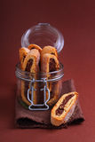 Italian biscotti. Cookies with nuts and chocolate royalty free stock image