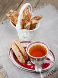 Italian biscotti cookies and tea Stock Image