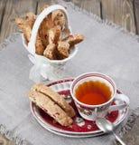 Italian biscotti cookies and tea Stock Photos