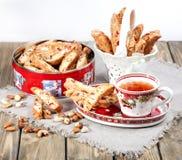 Italian biscotti cookies and tea Royalty Free Stock Image