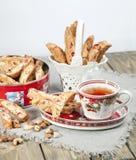 Italian biscotti cookies and tea Stock Photography
