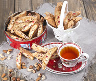 Italian biscotti cookies and tea Royalty Free Stock Photography