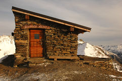 Italian bivouac. On a top of a mountain in winter with snow Stock Images