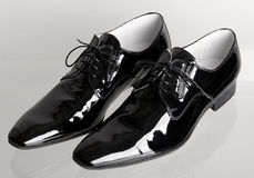 Italian black mans dancing shoes Stock Photo