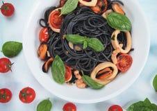 Italian black spaghetti pasta Royalty Free Stock Photos