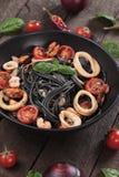 Italian black spaghetti pasta Royalty Free Stock Image