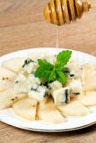 Italian blue cheese gorgonzolla and  pear Royalty Free Stock Photos