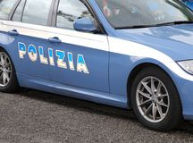 Italian blue POLICE car in the road Royalty Free Stock Photography