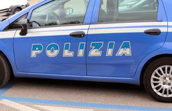 Italian blue police car in the street Stock Images