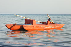 Italian boat rescue lifeguard, Rescue = Salvataggio Royalty Free Stock Photos