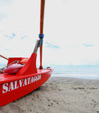 Italian boat salvage of life guards in the coast Stock Image