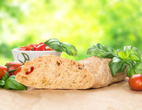 Italian bread  ciabatta with tomatoes and basil  in garden Stock Photography