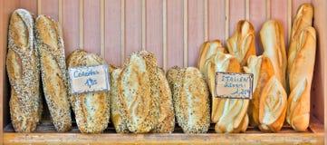 Italian bread. Fresh Italian bread in a wooden tray Royalty Free Stock Photos