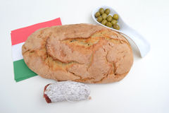 Italian bread with salami and olives Royalty Free Stock Photos