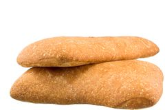 Italian breads. Two italian breads on white background Royalty Free Stock Photos