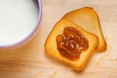 Italian breakfast. Typical italian breackfast: Jam, crispbread and a cup of good milk Royalty Free Stock Photos