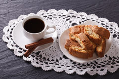 Italian breakfast: coffee and cookies with almonds. horizontal Stock Photography