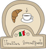 Italian Breakfast Doodle. Illustration of a doodle showing the typical italian breakfast Vector Illustration