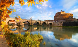 Italian bridge of Saint Angelo in autumn Stock Photo