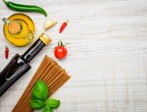 Italian Brown Spaghetti and Copy Space Stock Photos