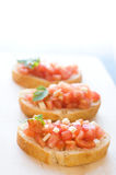 Italian bruschetta. Bruschetta on the wooden table stock photos