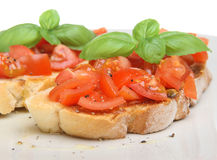 Italian Bruschetta. With freshly ground pepper and olive oil stock photos