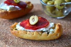 Italian Bruschetta Bread With Salami And Mozzarella On A Plate Stock Image