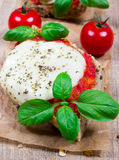 Italian bruschetta with cherry tomatoes, mozzarella & fresh basil. Stock Photos