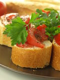 Italian bruschetta, closeup Royalty Free Stock Photos