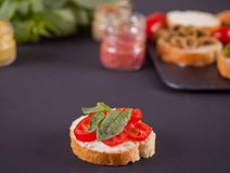 Italian bruschetta with cream cheese, tomato cherry and bazil and bruschetta in assortment on the plate with set with small bottle. Of mustard on the black royalty free stock images