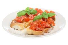 Italian Bruschetta Food. Italian bruschetta isolated on white Royalty Free Stock Image