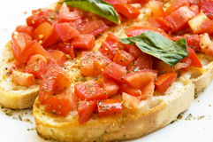 Italian bruschetta food isolated white Stock Photos