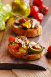 Italian bruschetta with grilled vegetables Stock Photography