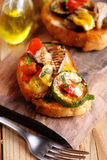 Italian bruschetta with grilled vegetables Stock Images
